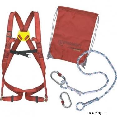 Komplektas: apsauginės petnešos, apsauginė virvė 1,5 m, 2 jungtys DELTA