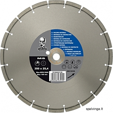 Deimantinis pjovimo diskas MS 360 ATLAS, skersmuo 350 mm