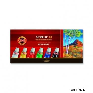Akriliniai dažai, 10 spalvų KOH-I-NOOR